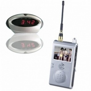 """Wirless Clock Camera DVR with A/V receiver - 1.2GHz Wireless Security System Covert Spy Camera w/ Clock Apperance & 2.4"""" LCD Receiver"""
